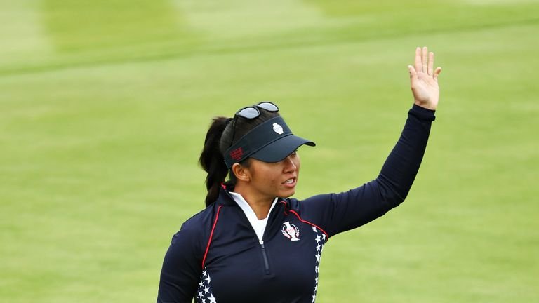 Megan Khang secured a half by winning the 18th