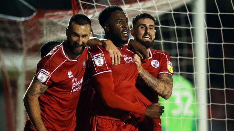 Nathan Ferguson celebrates his equaliser against Stoke