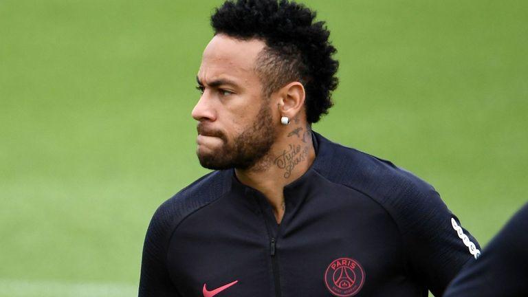 PSG forward Neymar in training alongside Thiago Silva