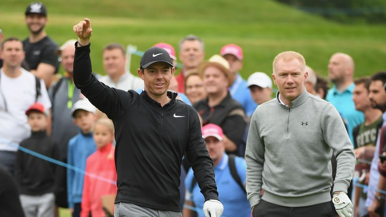 Scholes also partnered McIlroy during the 2018 event