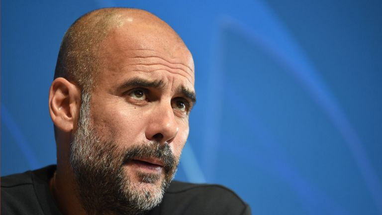 Pep Guardiola speaks during a Champions League press conference
