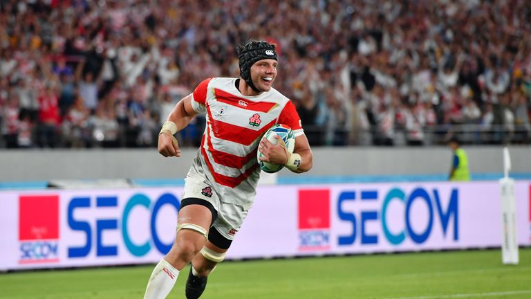Pieter Labuschagne scores a try against Russia and will captain Japan against Ireland