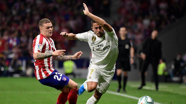 Kieran Trippier was tasked with marking Eden Hazard in the Madrid derby on Saturday night