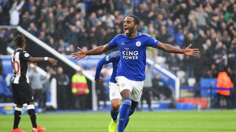 Ricardo Pereira celebrates his goal against Newcastle