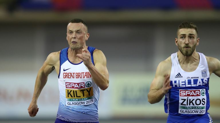 Kilty in action at the European Athletics Indoor Championships in Glasgow