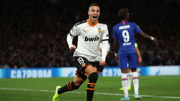 Rodrigo Moreno celebrates scoring Valencia's winner on Tuesday night