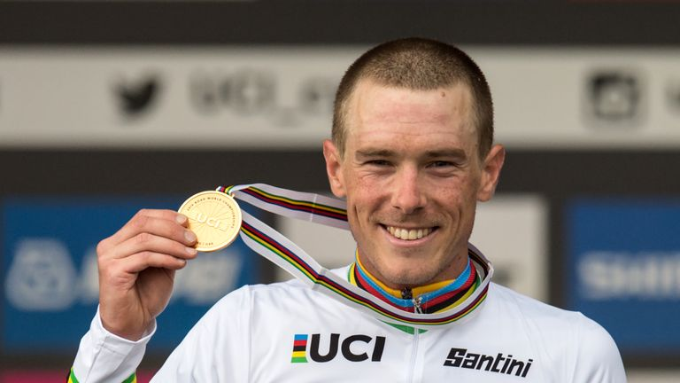 Rohan Dennis celebrates defending his time trial title at the UCI Road World Championships