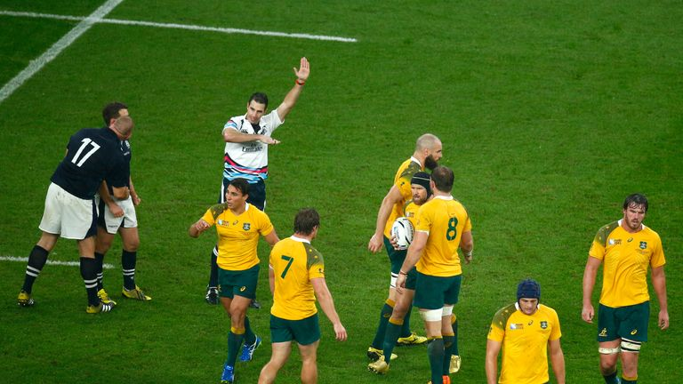 Referee Craig Joubert gave a penalty to Australia with two minutes left, when a scrum should have been the decision