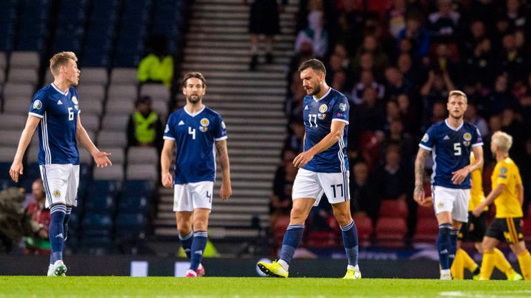 Scotland players during defeat against Belgium