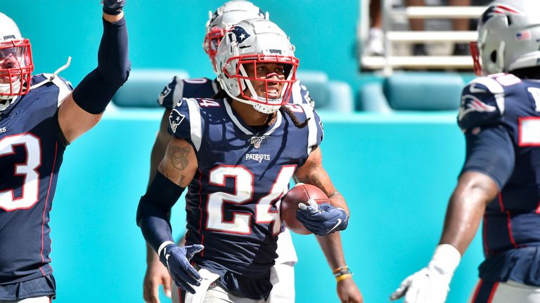 The Patriots' defense has been scoring too, as Stephon Gilmore returned an interception for a TD against Miami