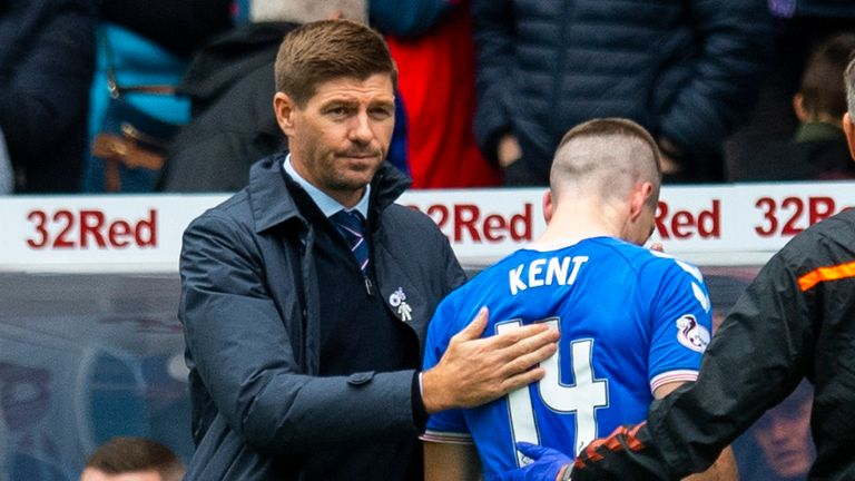 Ryan Kent goes off injured during the Premiership match between Rangers and Livingston