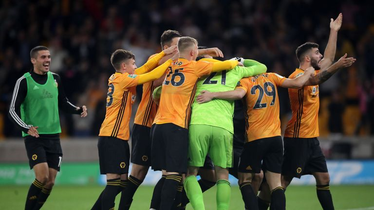 Wolves celebrate their shoot-out victory