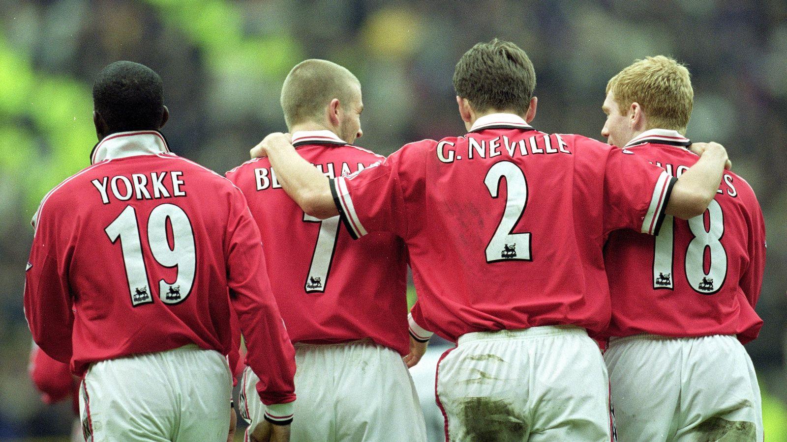 Дэвид Бэкхем, Пол Скоулз и Гарри Невилл в Манчестер Юнайтед