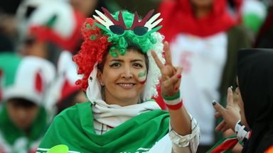 An Iranian woman shows her support at the World Cup qualifier against Cambodia