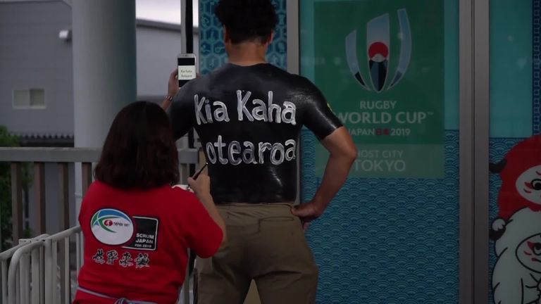 Sky Sports News reporter James Cole meets the Rugby World Cup superfan who wears his shirt with a twist