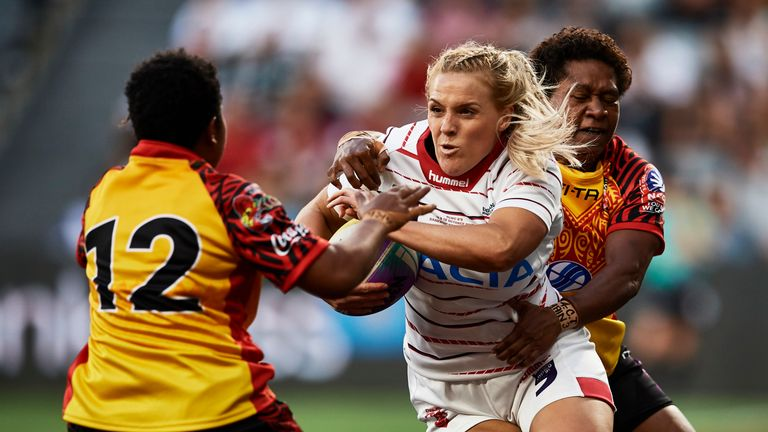 Amy Hardcastle on the charge for England against Papua New Guinea