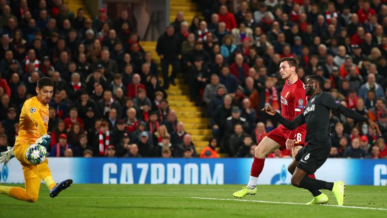 Andrew Robertson fires in Liverpool's second after 25 minutes