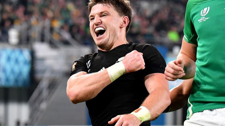 Beauden Barrett celebrates his try against Ireland