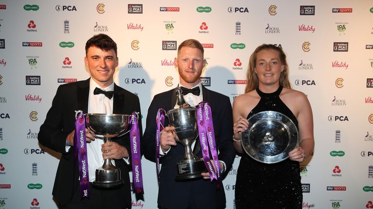 Tom Banton, Stokes and Sophie Ecclestone picked up the premier prizes at the 50th PCA Awards