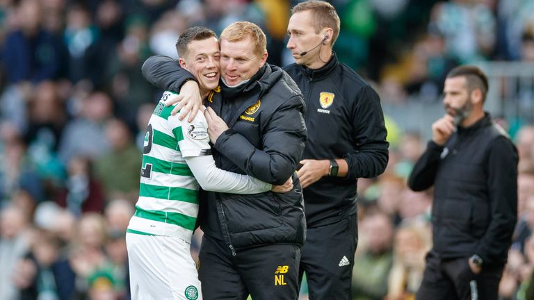 Callum McGregor hugs Celtic manager Neil Lennon