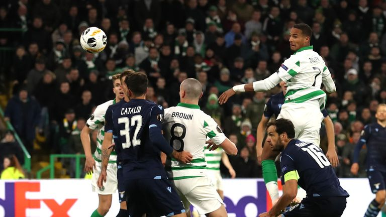 Celtic's Christopher Jullien scoring the winner against Lazio