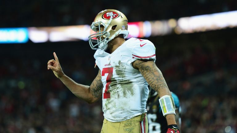 Colin Kaepernick ran for two touchdowns and threw for another as the Niners thrashed the Jags