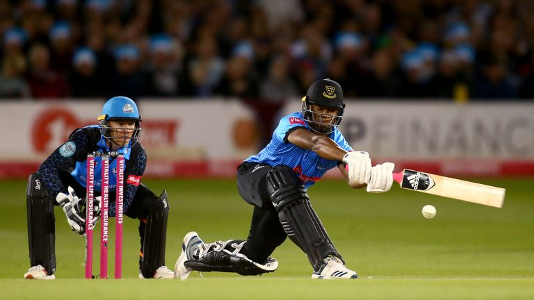 Delray Rawlins of Sussex Sharks bats during the Vitality T20 Blast Quarter-Final