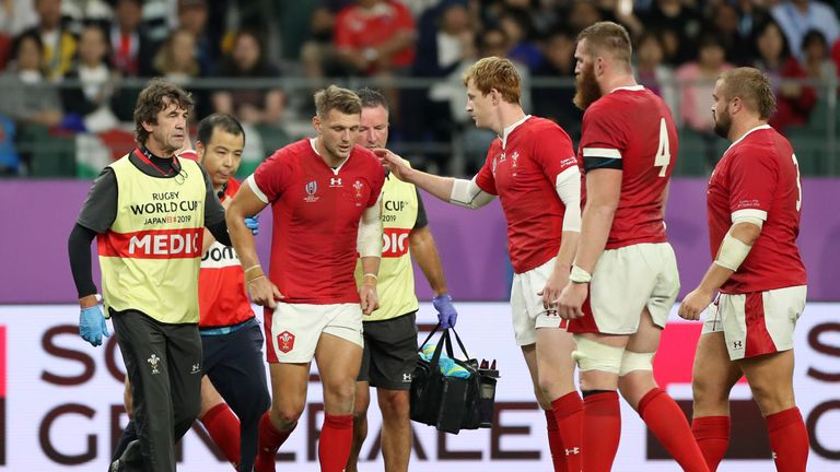 Dan Biggar left the field after an accidental collision with Liam Williams and will not feature against Uruguay