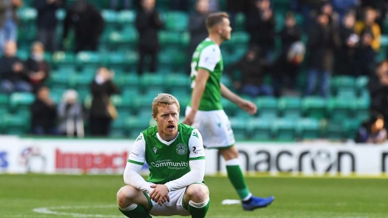 Daryl Horgan at full-time after the 2-2 draw between Hibernian and Ross County at Easter Road