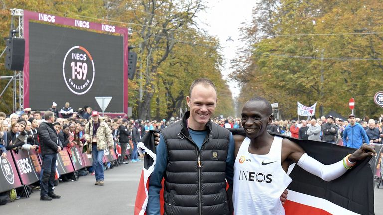 Froome was in Vienna on Saturday to watch Eliud Kipchoge complete his astonishing Ineos 1:59 Challenge marathon attempt