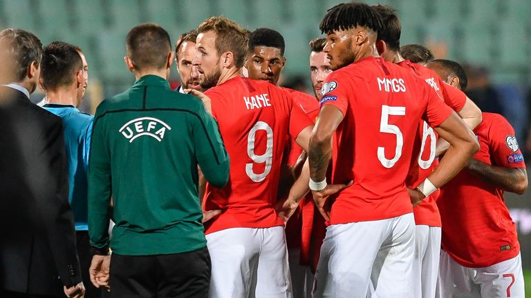 There was a temporary interruption of the game between Bulgaria and England