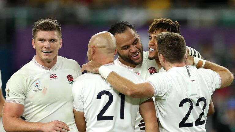 England celebrate after beating Australia in the last year's World Cup quarter-finals