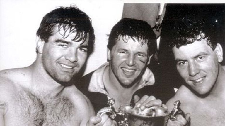 Fitzpatrick (middle) was part of the All Blacks side which clinched the inaugural Rugby World Cup in 1987