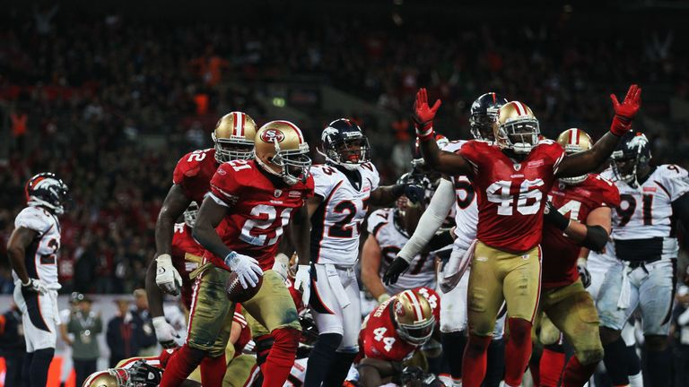 Frank Gore played - and scored a touchdown in - his first game in London for the 49ers