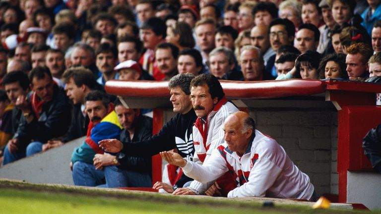 Graeme Souness looks on during his early days as manager at Liverpool; the Scot admits he has many regrets from his time as boss at Anfield