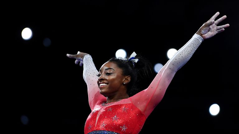 Simone Biles helped the USA win team gold at the Artistic Gymnastics World Championships in Stuttgart