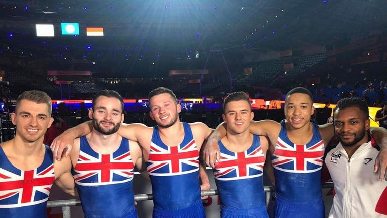 Joe Fraser (second right) celebrates with his GB team-mates in Germany