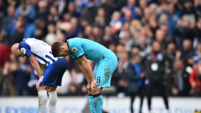 Harry Winks was dejected at the final whistle after the loss to Brighton