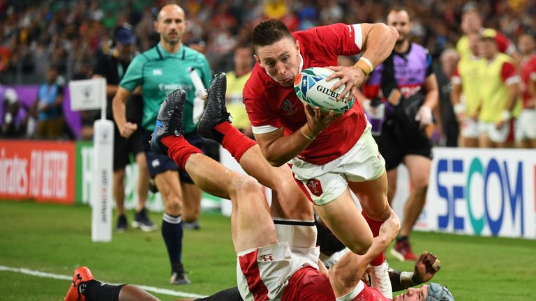 Wales wing Josh Adams notched a Rugby World Cup hat-trick in a superb Pool D victory over Fiji