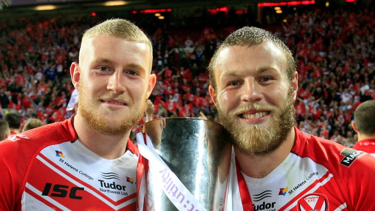 Josh Jones (right) celebrates St Helens' 2014 Grand Final win with Luke Thompson