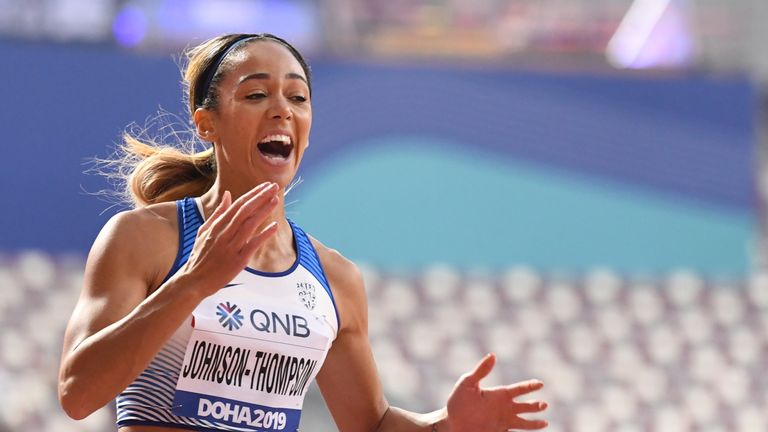 Katarina Johnson-Thompson held the overnight lead in the heptathlon