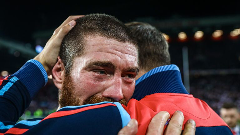 Kyle Amor celebrates St Helens' victory