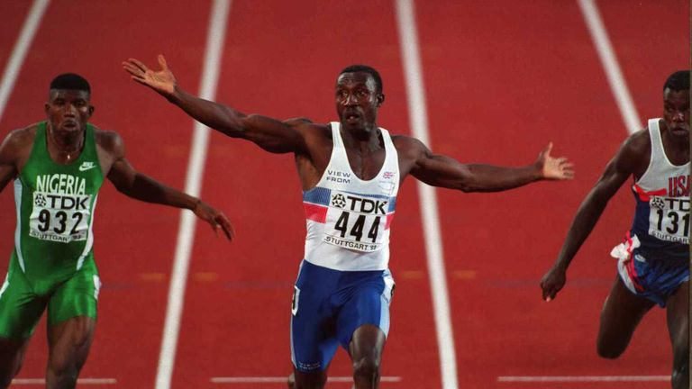 Linford Christie powered to victory at the world championships