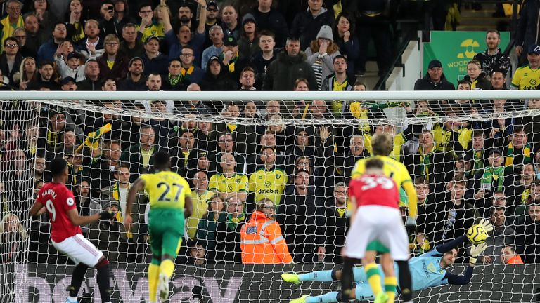 Tim Krul denies Anthony Martial from the spot at Carrow Road