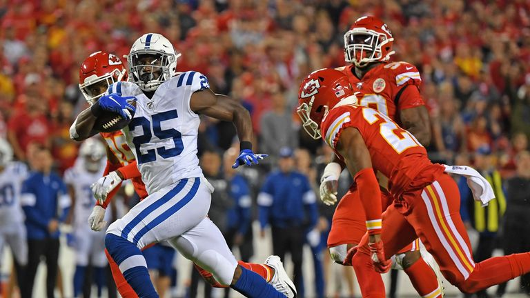 Marlon Mack had a big night on the ground as the Colts ran the ball to keep it away from the Chiefs' attack
