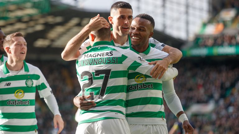 Celtic's Elyounoussi (centre) celebrates scoring his side's first goal