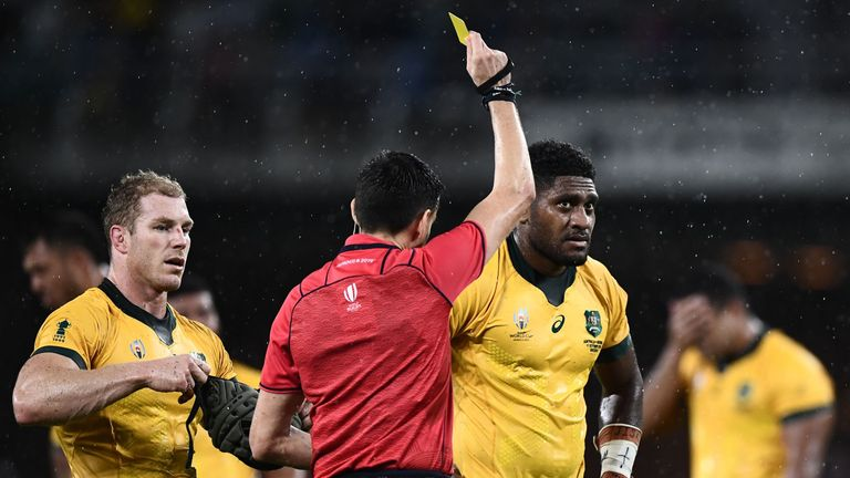 Australia No 8 Isi Naisarani was sin-binned for making contact with the head - something which could feasibly have produced a red card