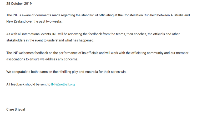 A statement from the International Netball Federation regarding the officiating the Constellation Cup