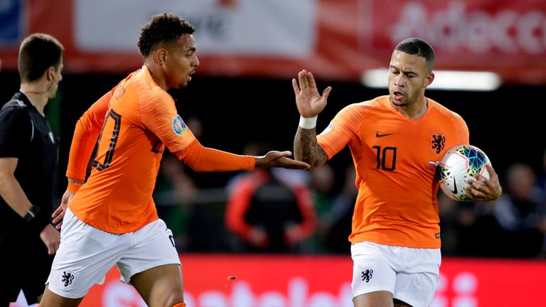 Memphis Depay celebrates his first goal for the Netherlands