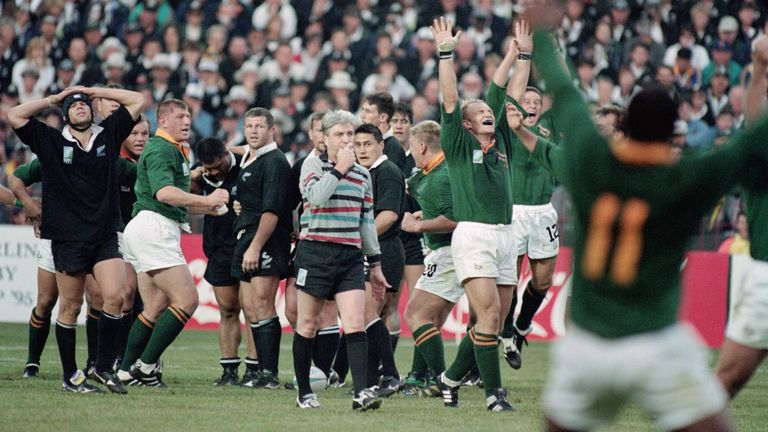 Fitzpatrick and New Zealand look on as the Springboks achieve the ultimate